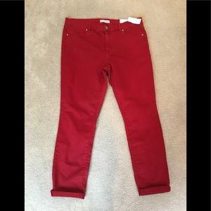 Loft skinny cropped red jeans